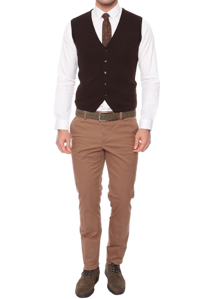 P 990 Slim Fit Vizon Kanvas Pantolon