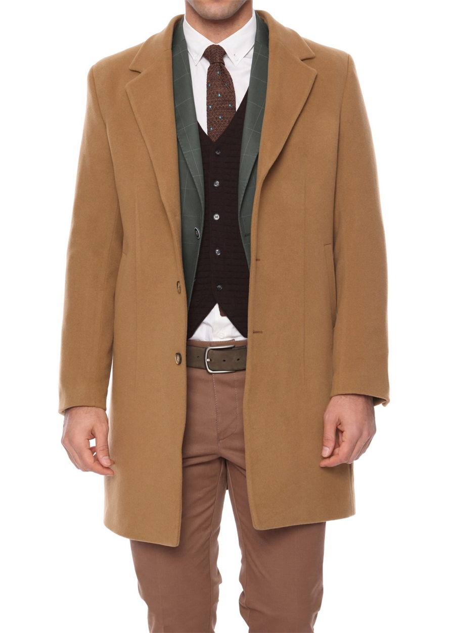 PLT 048 Slim Fit Optik Camel Klasik Palto