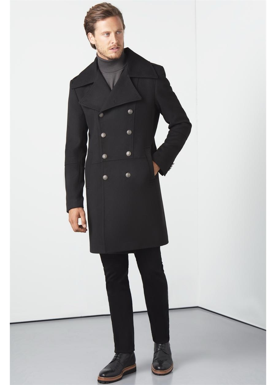 PLT 051 Slim Fit Siyah Spor Palto