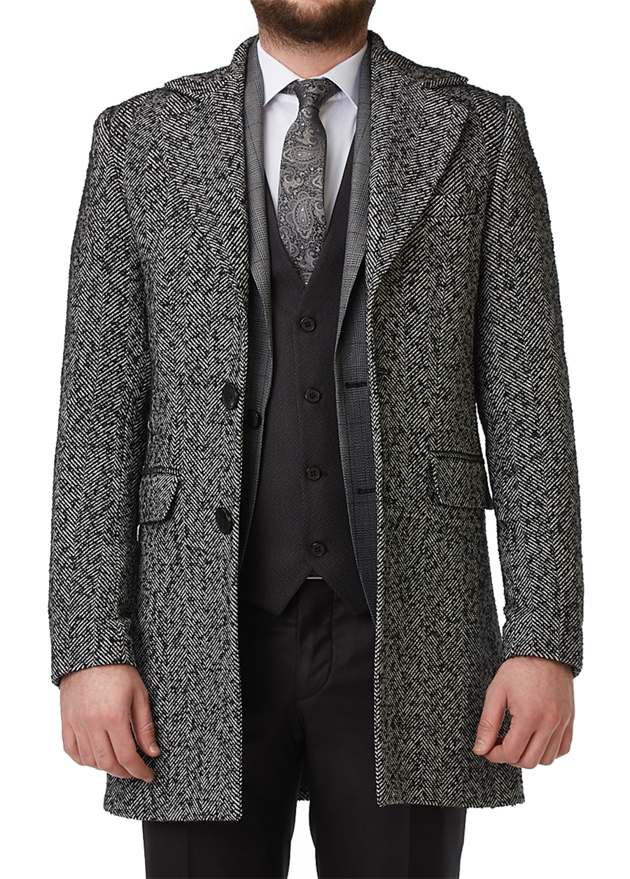PLT 052 Slim Fit Siyah Spor Palto