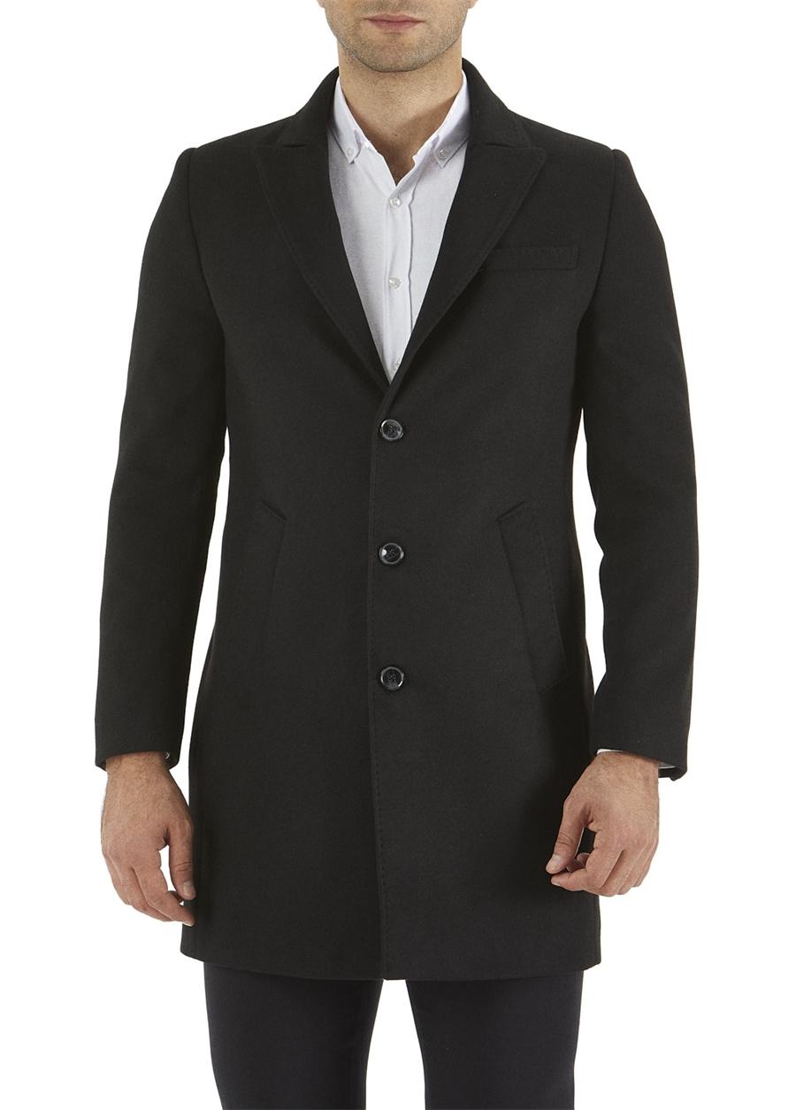 PLT 054 Slim Fit Siyah Spor Palto