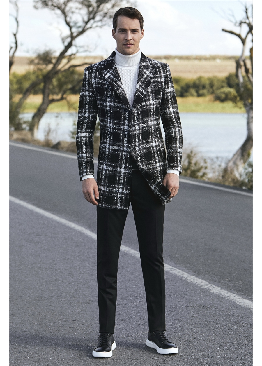 PLT 057 Slim Fit Siyah Spor Palto