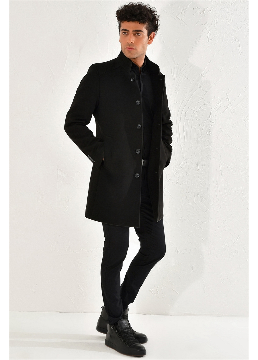 PLT 062 Slim Fit Siyah Spor Palto