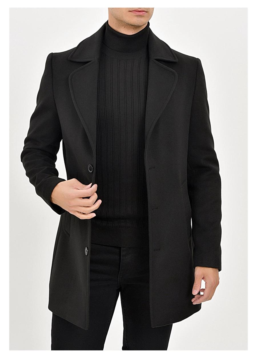 PLT 063 Slim Fit Siyah Klasik Palto