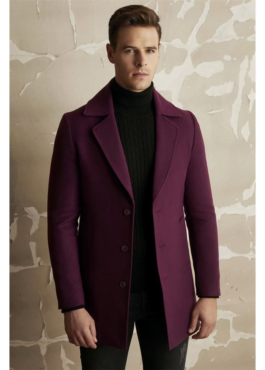 PLT 063 Slim Fit Mor Klasik Palto