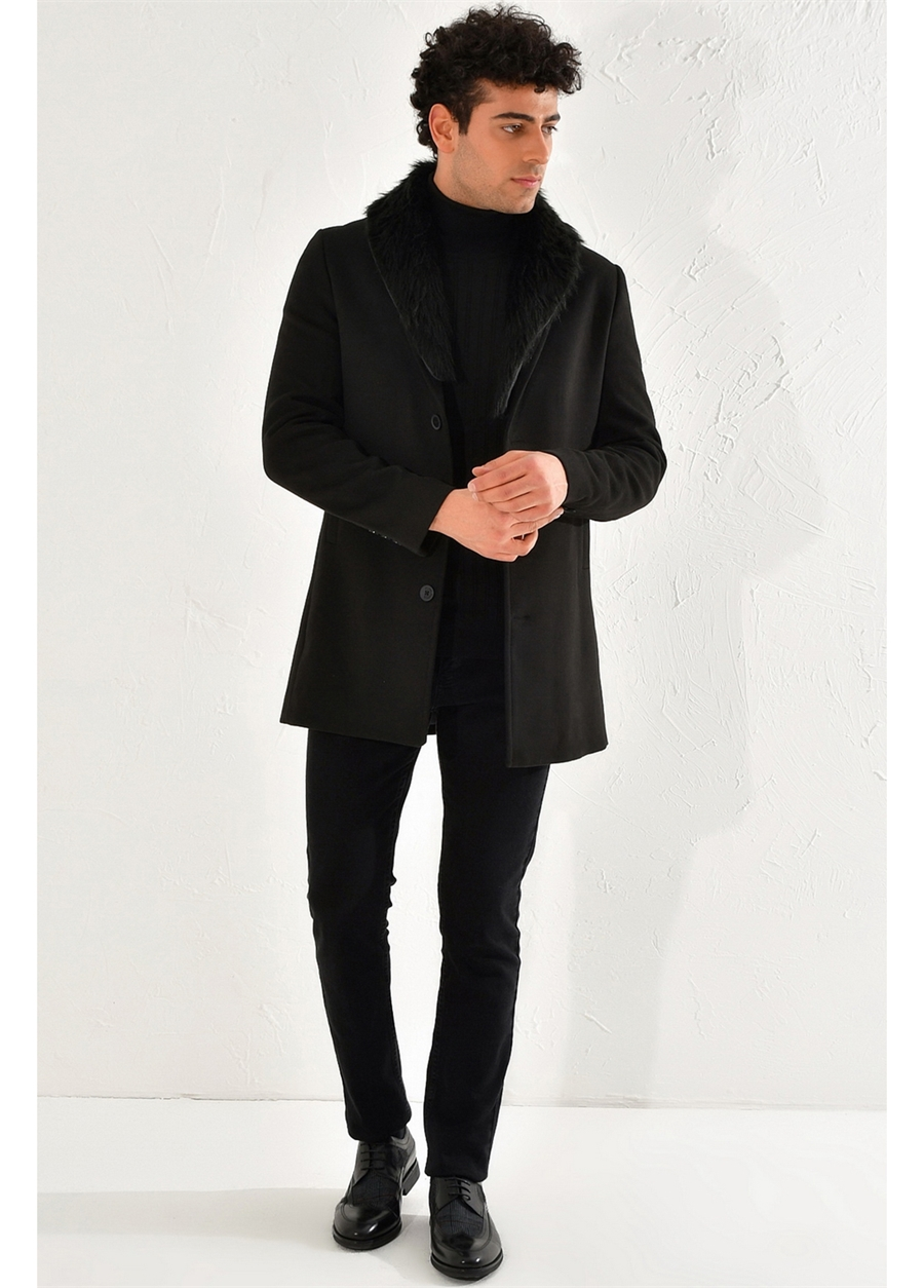 PLT 064 Slim Fit Siyah Klasik Palto
