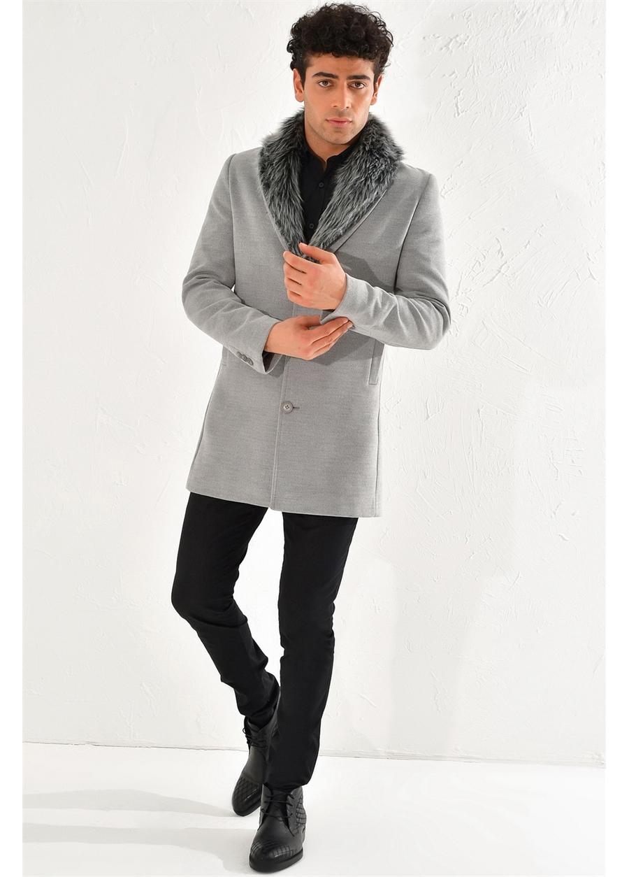 PLT 064 Slim Fit Gri Klasik Palto