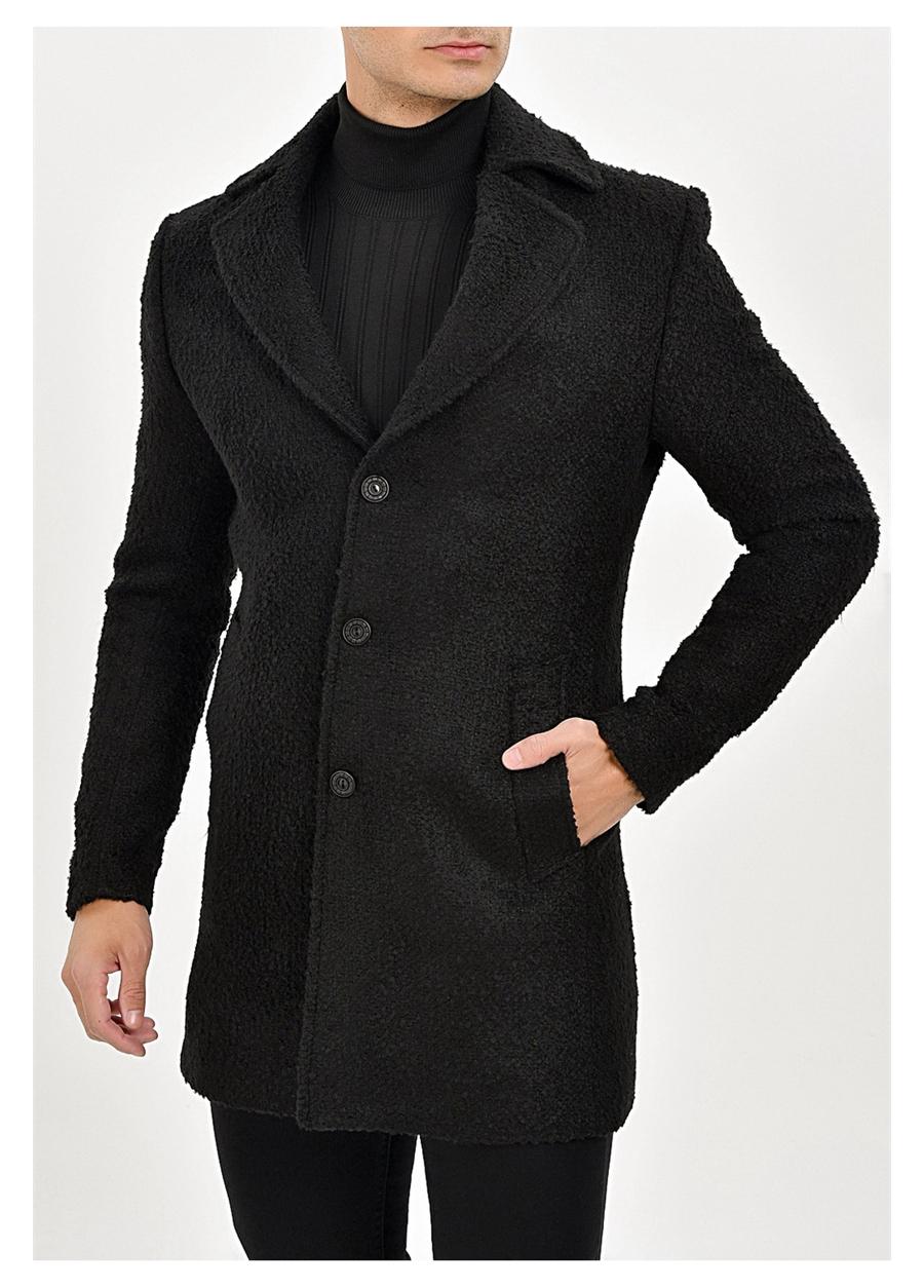 PLT 065 Slim Fit Siyah Spor Palto
