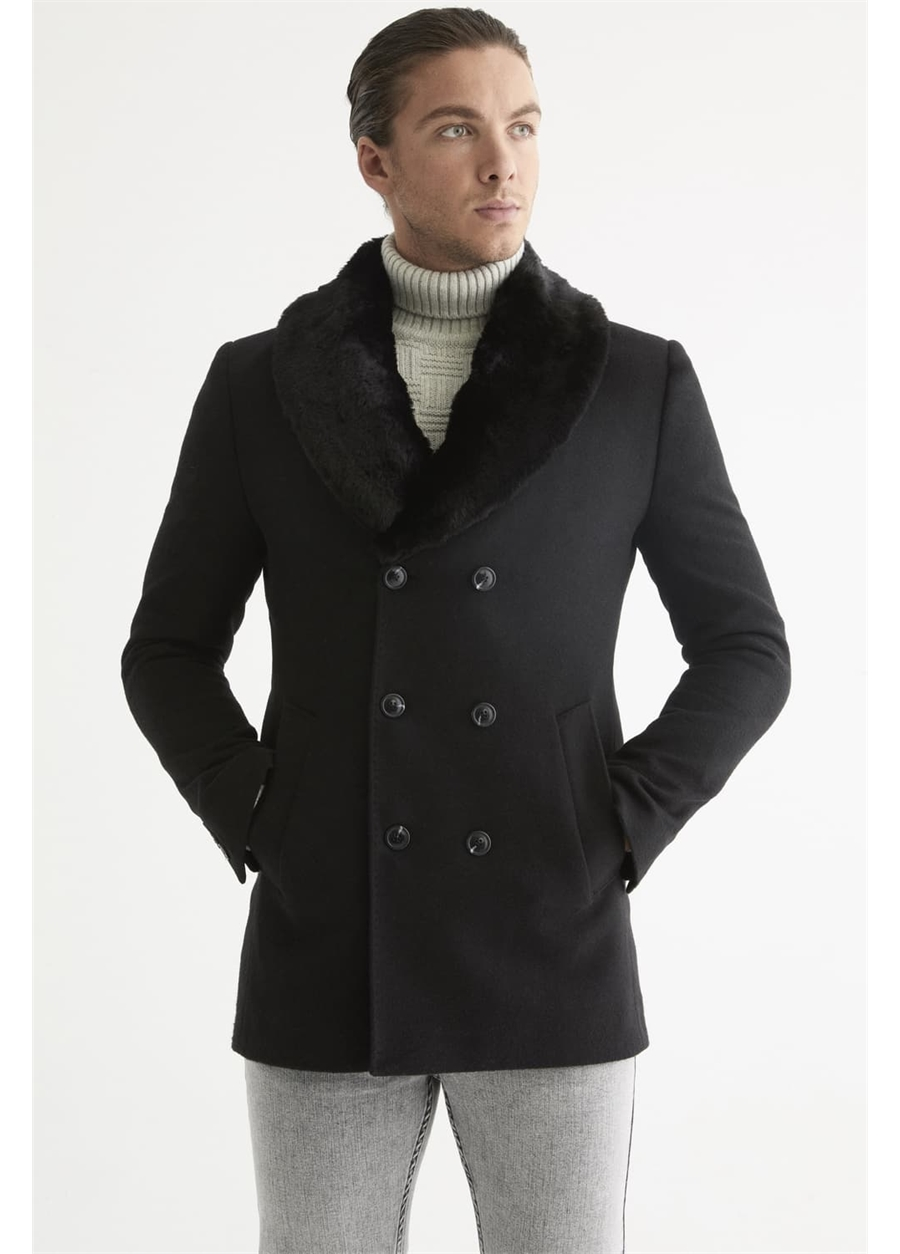PLT 068 Slim Fit Siyah Spor Palto