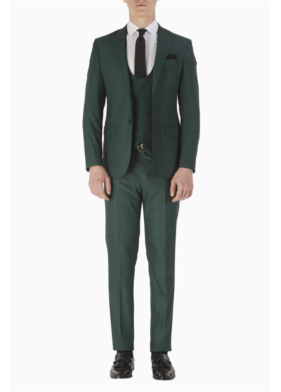 TK 742 Slim Fit Yeşil Spor Takım Elbise