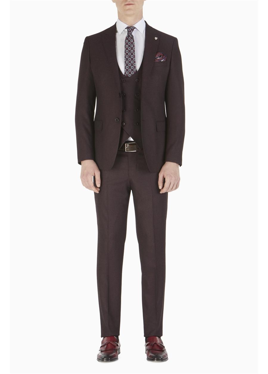TK 743 Slim Fit Bordo Spor Takım Elbise