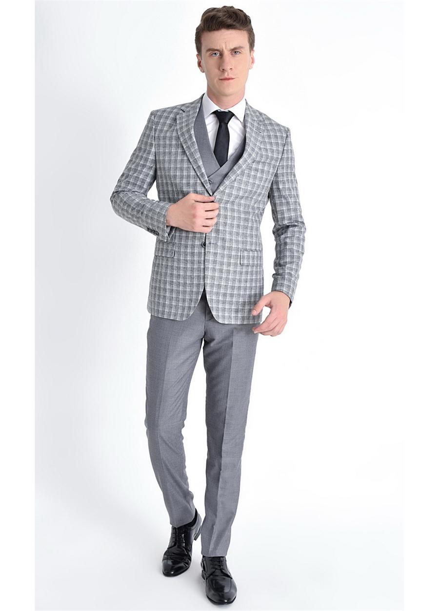 TK 769 Slim Fit Gri Klasik Takım Elbise