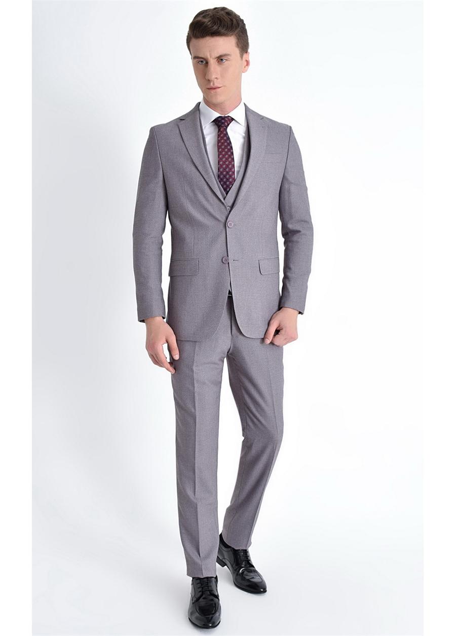 TK 770 Slim Fit Koyu Lila Klasik Takım Elbise
