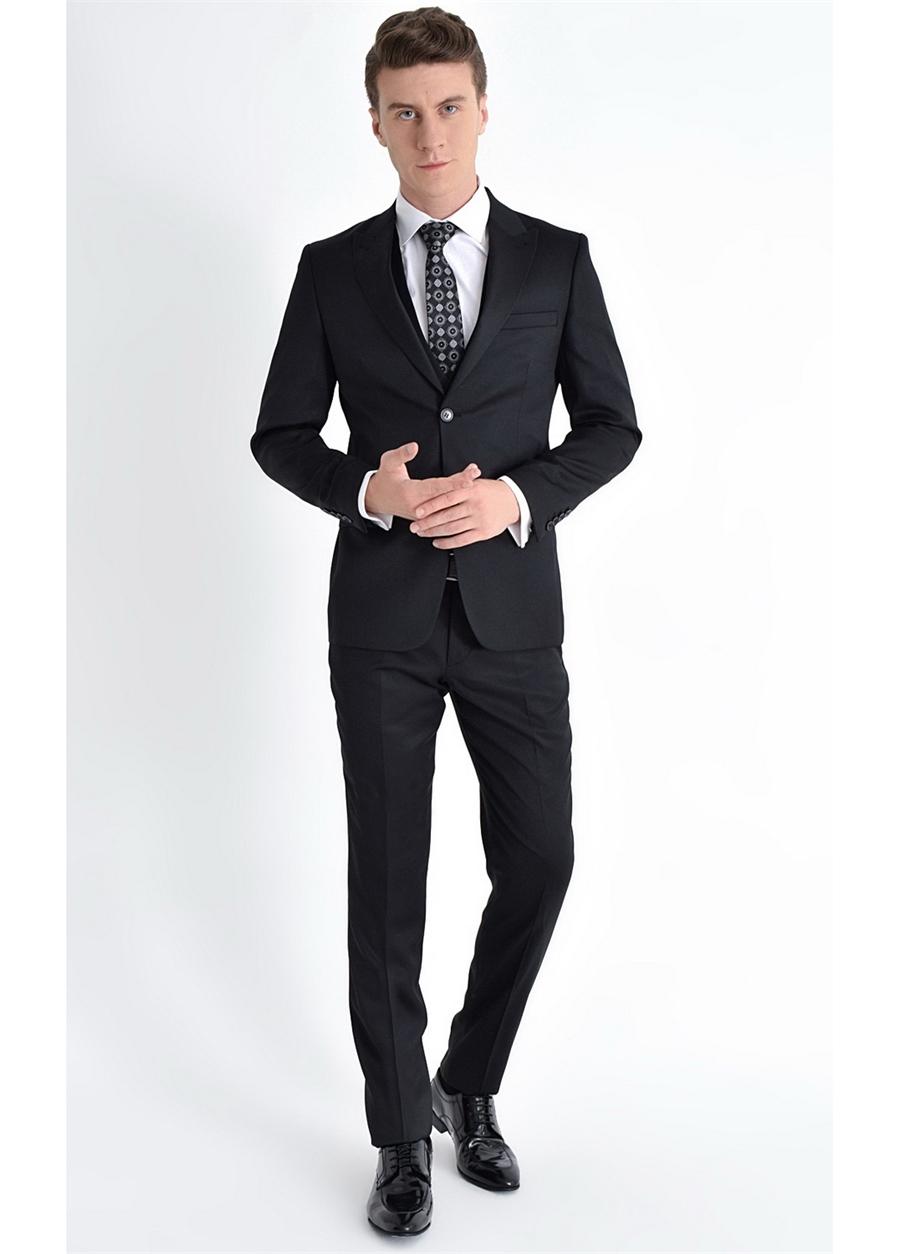 TK 771 Slim Fit Siyah Klasik Takım Elbise