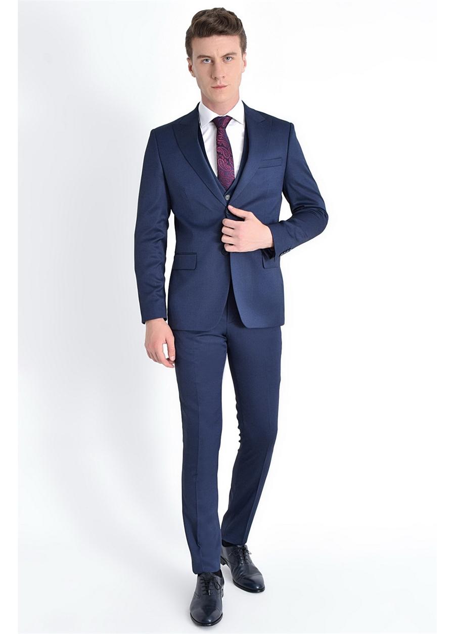 TK 771 Slim Fit Lacivert Klasik Takım Elbise