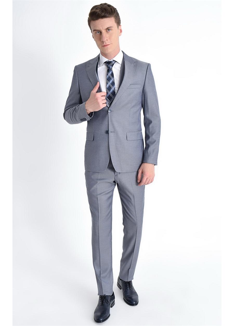 TK 771 Slim Fit Gri Klasik Takım Elbise