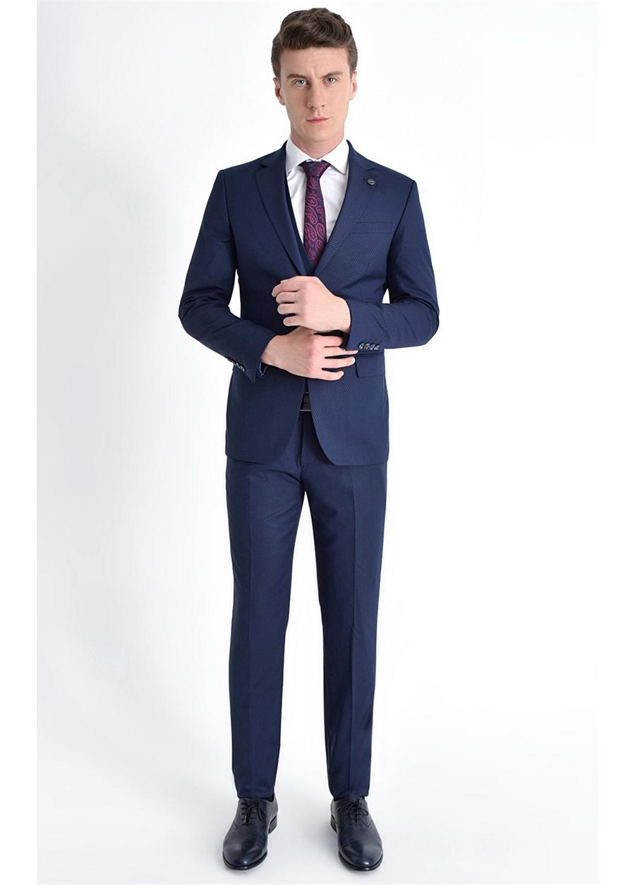 TK 772 Slim Fit Koyu Lacivert Klasik Takım Elbise