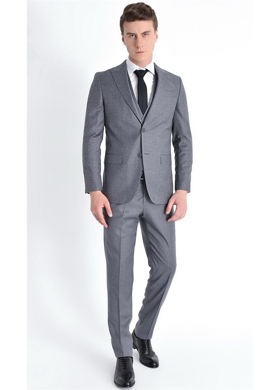TK 774 Slim Fit Gri Klasik Takım Elbise
