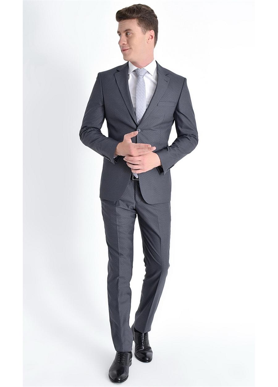 TK 775 Slim Fit Antrasit Klasik Takım Elbise