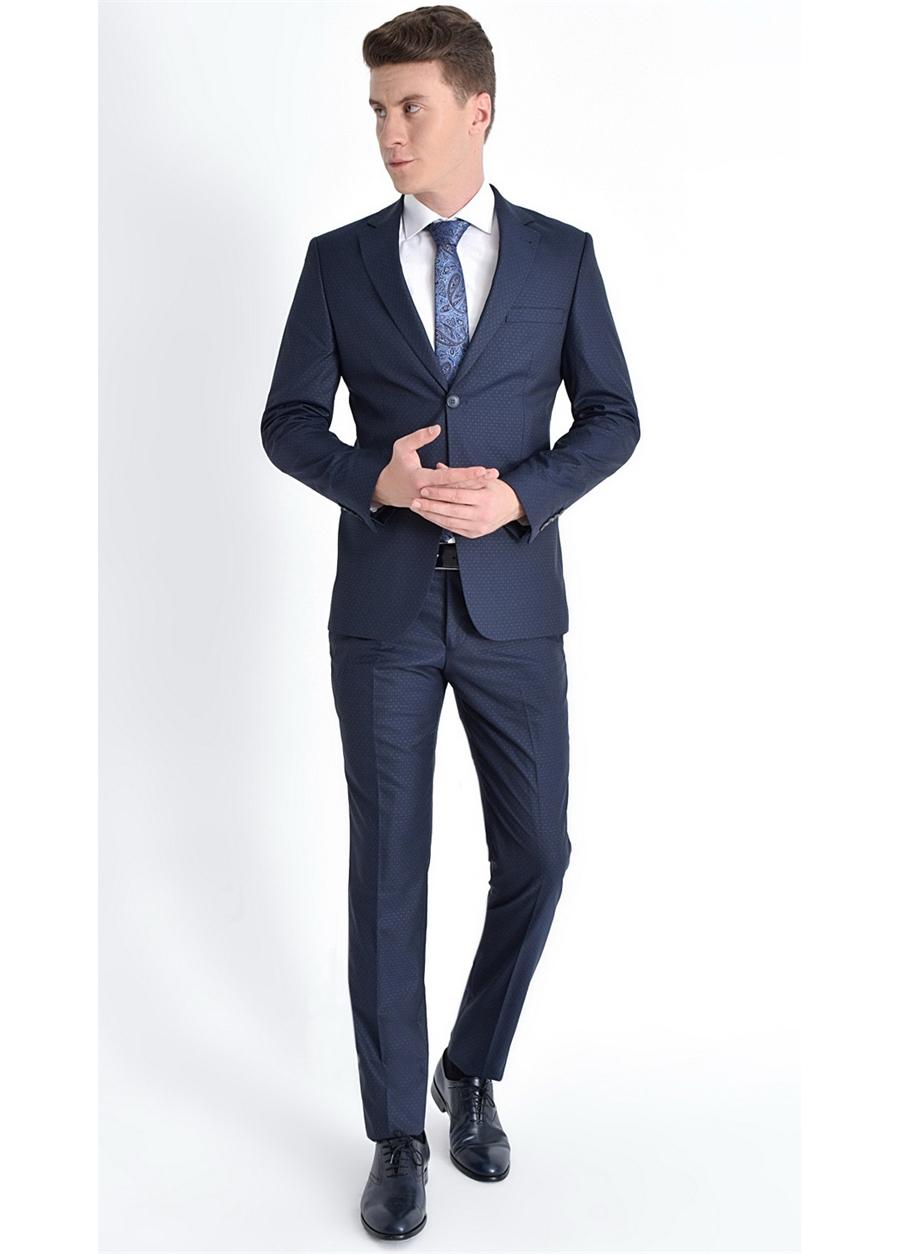 TK 775 Slim Fit Koyu Lacivert Klasik Takım Elbise