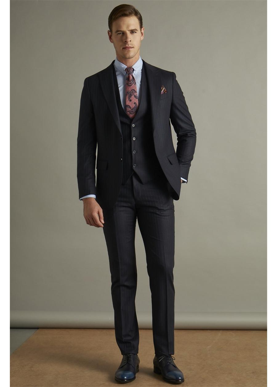 TK 779 Slim Fit Lacivert Klasik Takım Elbise