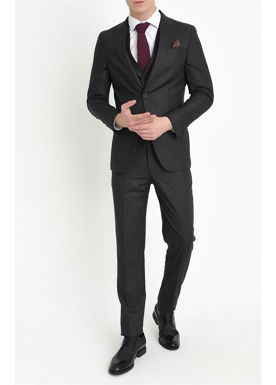 TK 779 Slim Fit Antrasit Klasik Takım Elbise