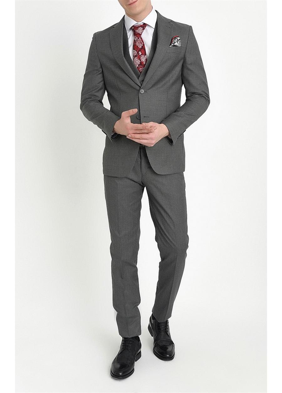 TK 782 Slim Fit Antrasit Klasik Takım Elbise