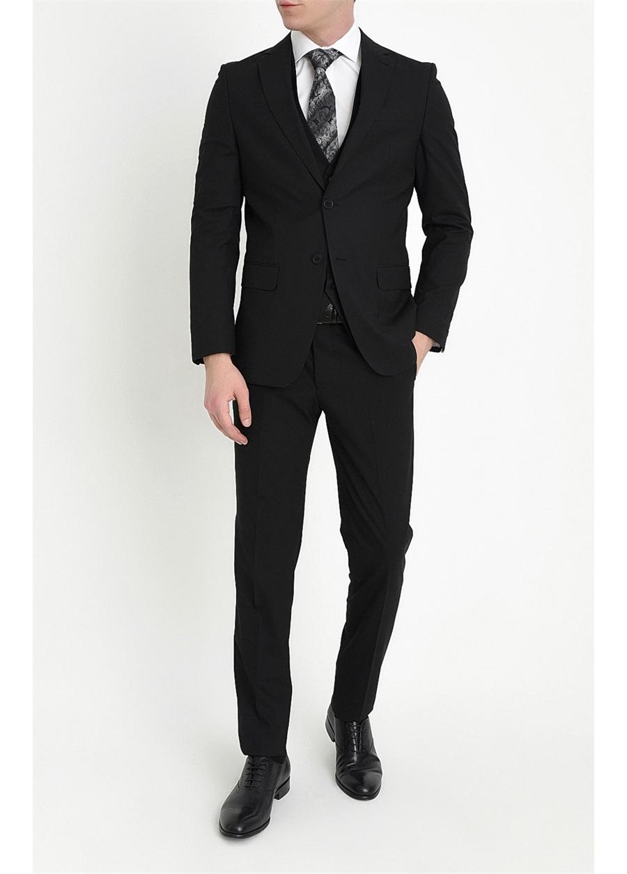 TK 784 Slim Fit Siyah Klasik Takım Elbise