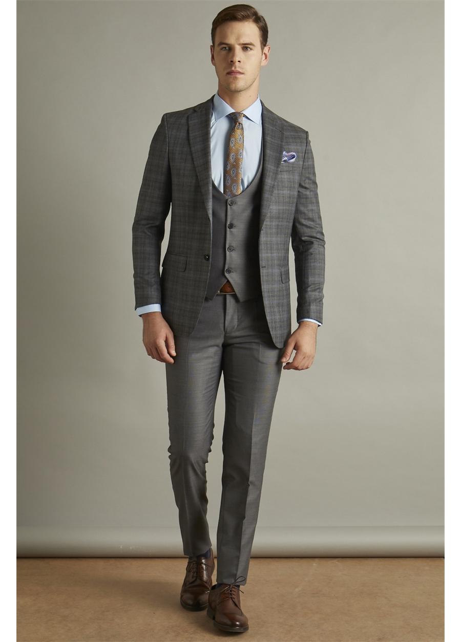 TK 785 Slim Fit Antrasit Klasik Takım Elbise