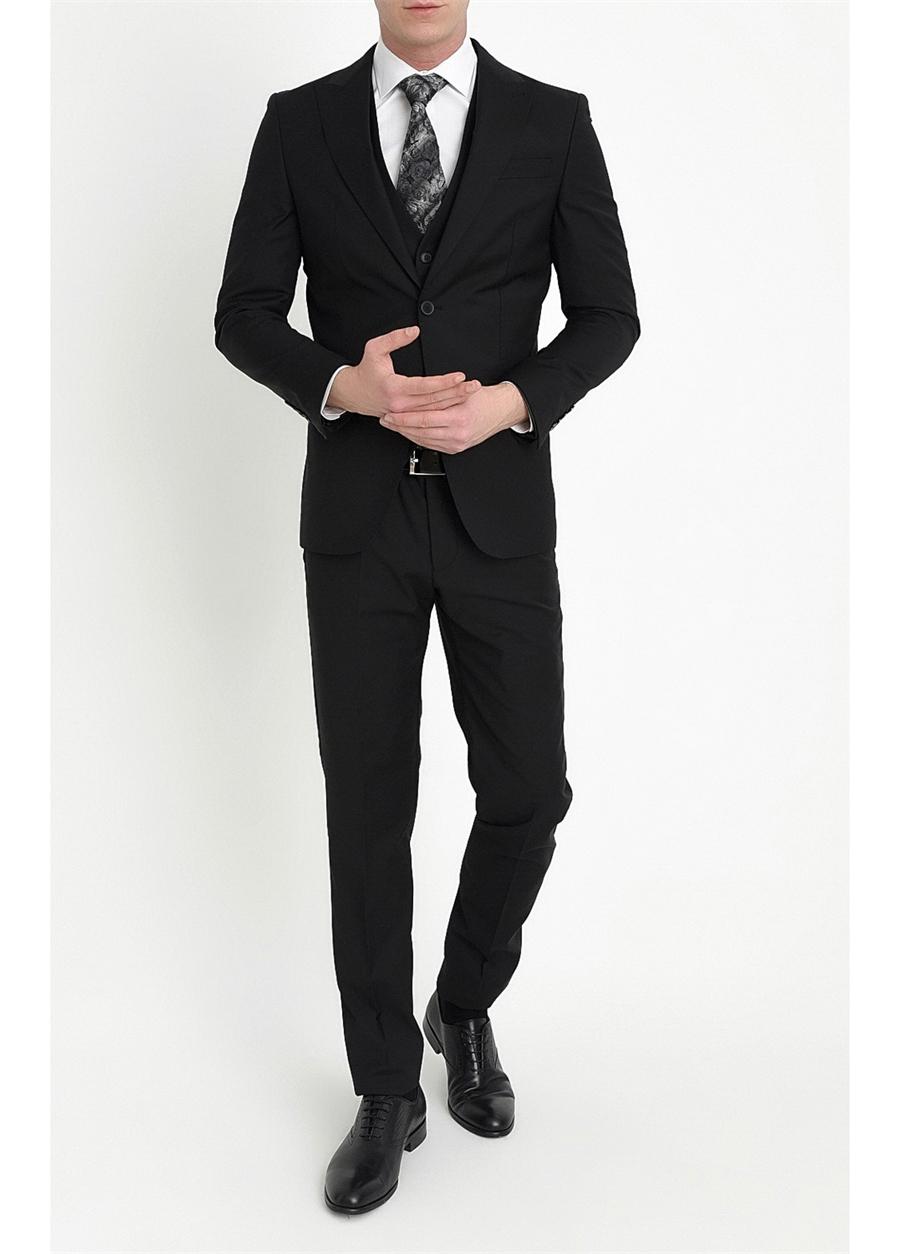 TK 787 Slim Fit Siyah Klasik Takım Elbise