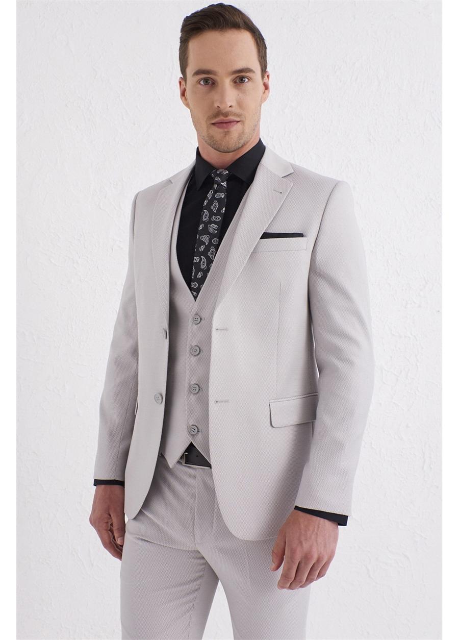 TK 791 Slim Fit Bej Klasik Takım Elbise