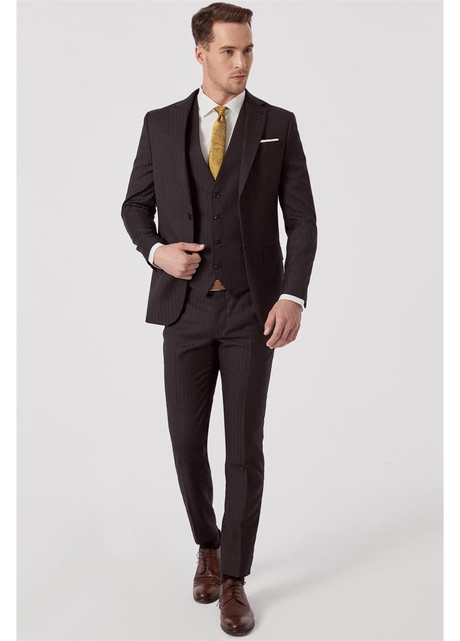 TK 800 Slim Fit Siyah Klasik Takım Elbise