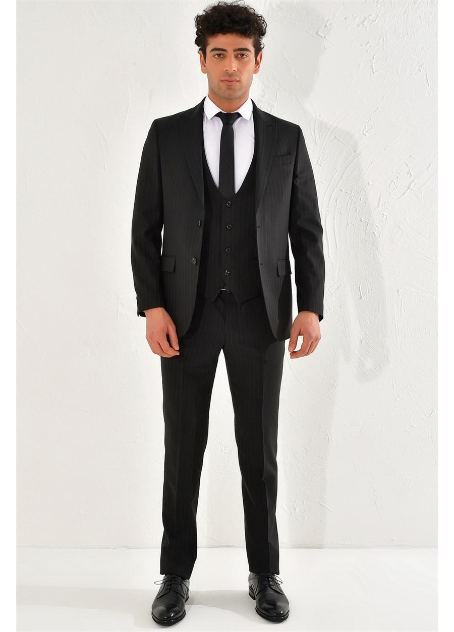 TK 801 Slim Fit Siyah Klasik Takım Elbise