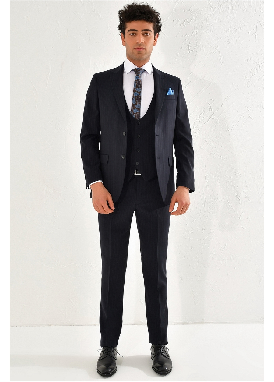 TK 801 Slim Fit Lacivert Klasik Takım Elbise