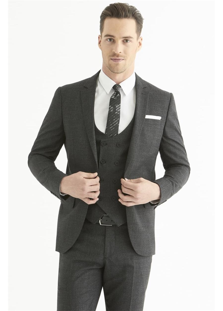 TK 803 Slim Fit Siyah Klasik Takım Elbise