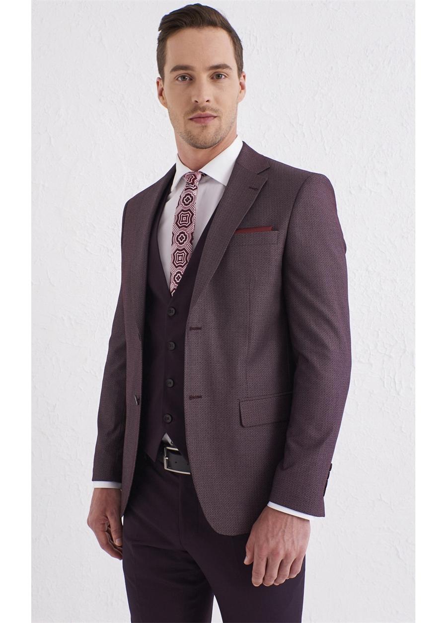 TK 803 Slim Fit Bordo Klasik Takım Elbise