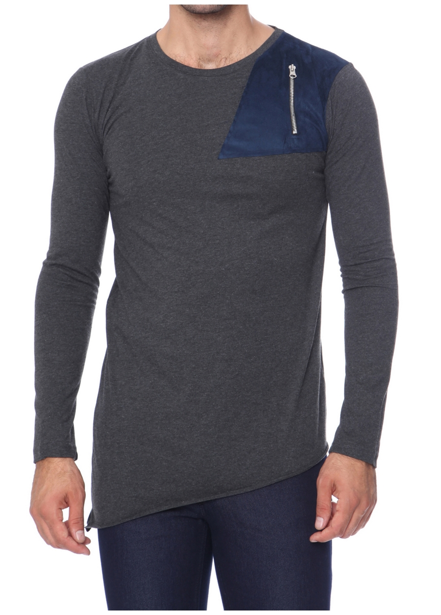 TS 660 Rahat Kesim Antrasit Spor T-Shirt