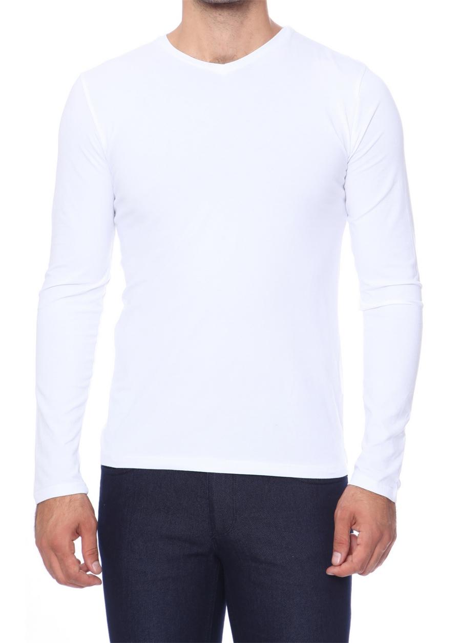 TS 665 Slim Fit Beyaz Spor T-Shirt