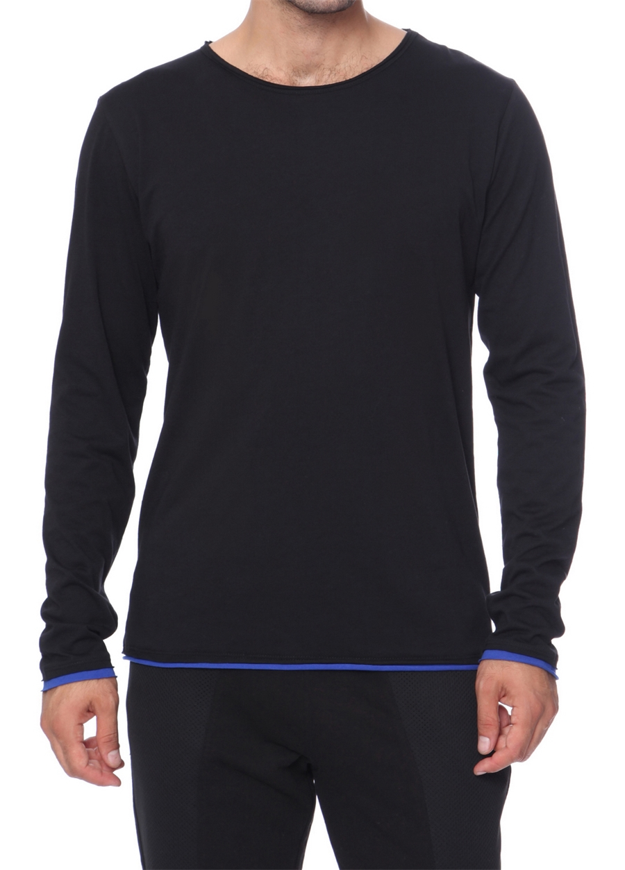 TS 669 Rahat Kesim Siyah Spor T-Shirt