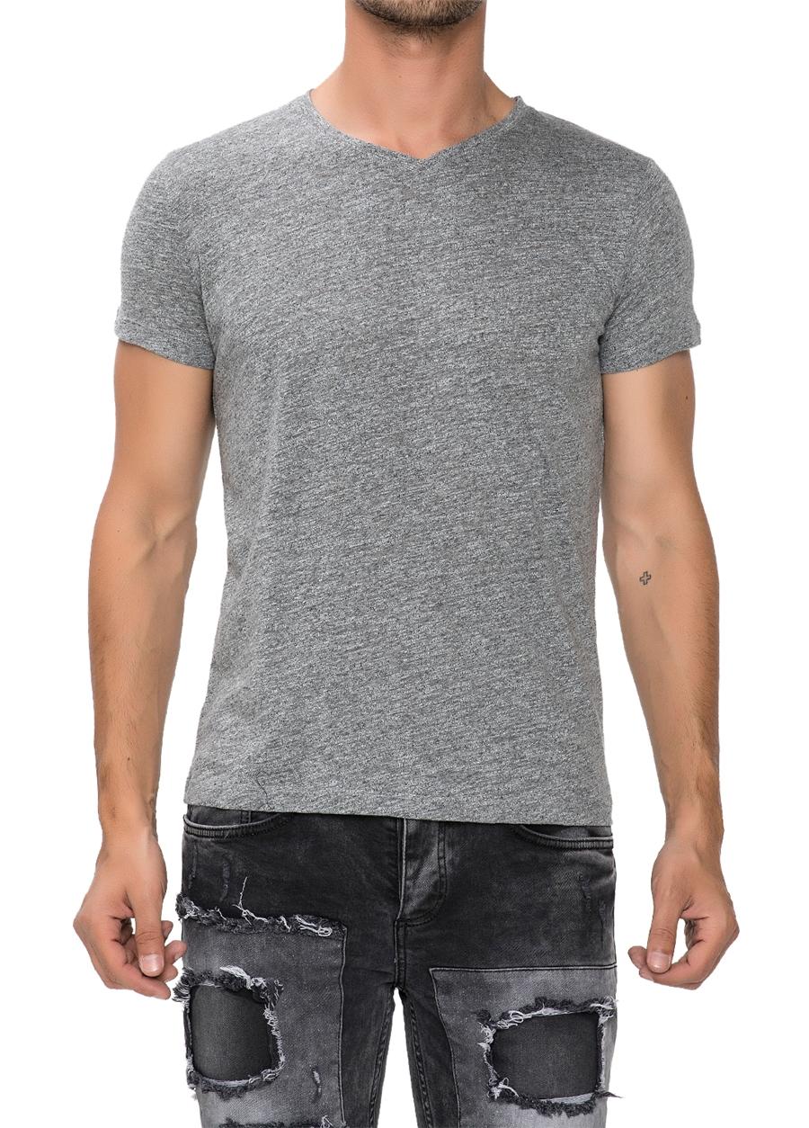 TS 679 Slim Fit Gri Spor T-Shirt