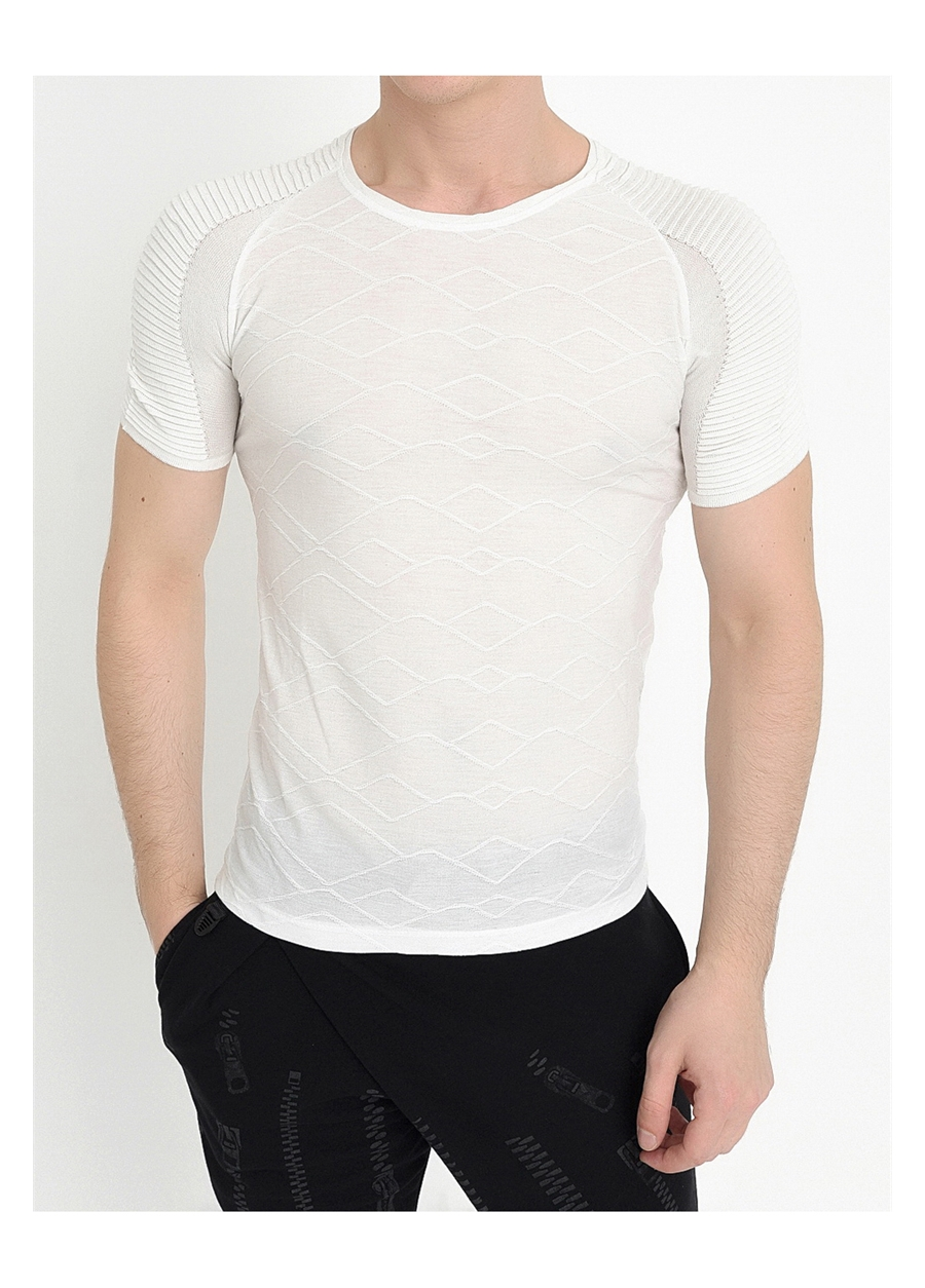 TS 725 Slim Fit Beyaz Spor T-Shirt