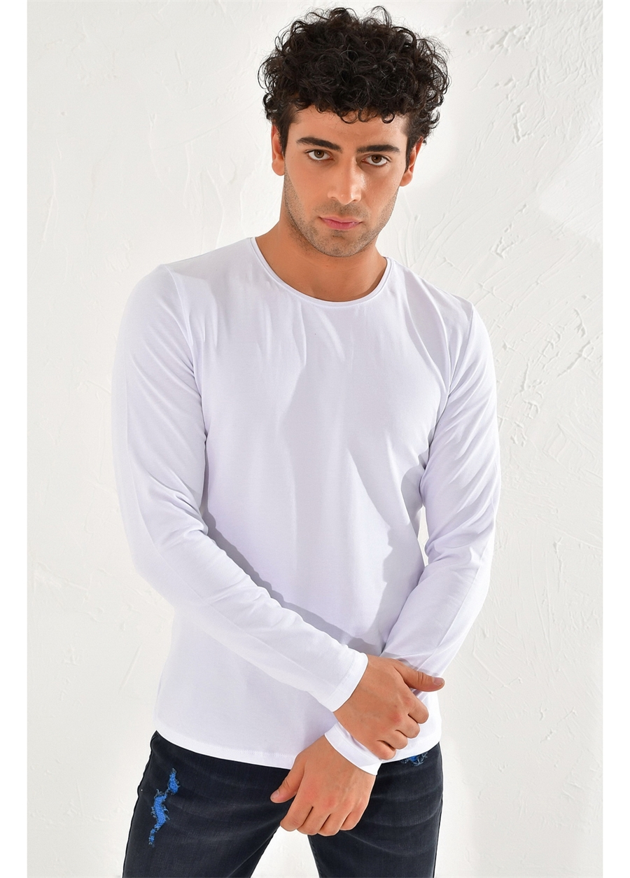 TS 754 Slim Fit Beyaz Spor T-Shirt