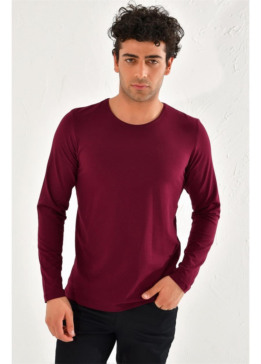 TS 754 Slim Fit Bordo Spor T-Shirt