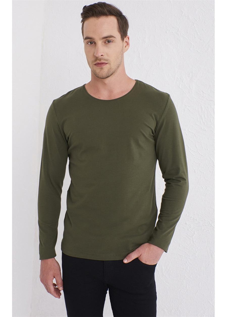 TS 754 Slim Fit Haki Spor T-Shirt