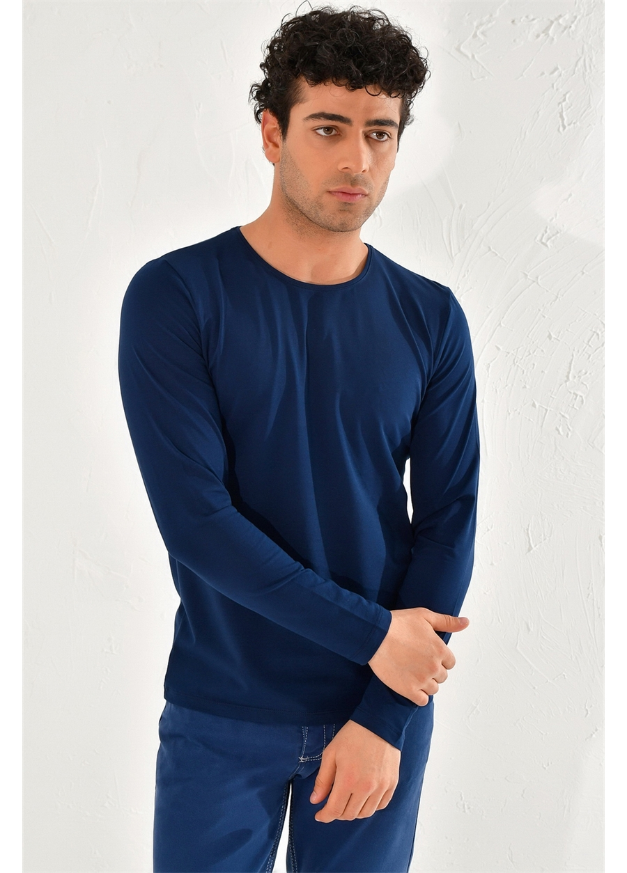 TS 754 Slim Fit Lacivert Spor T-Shirt