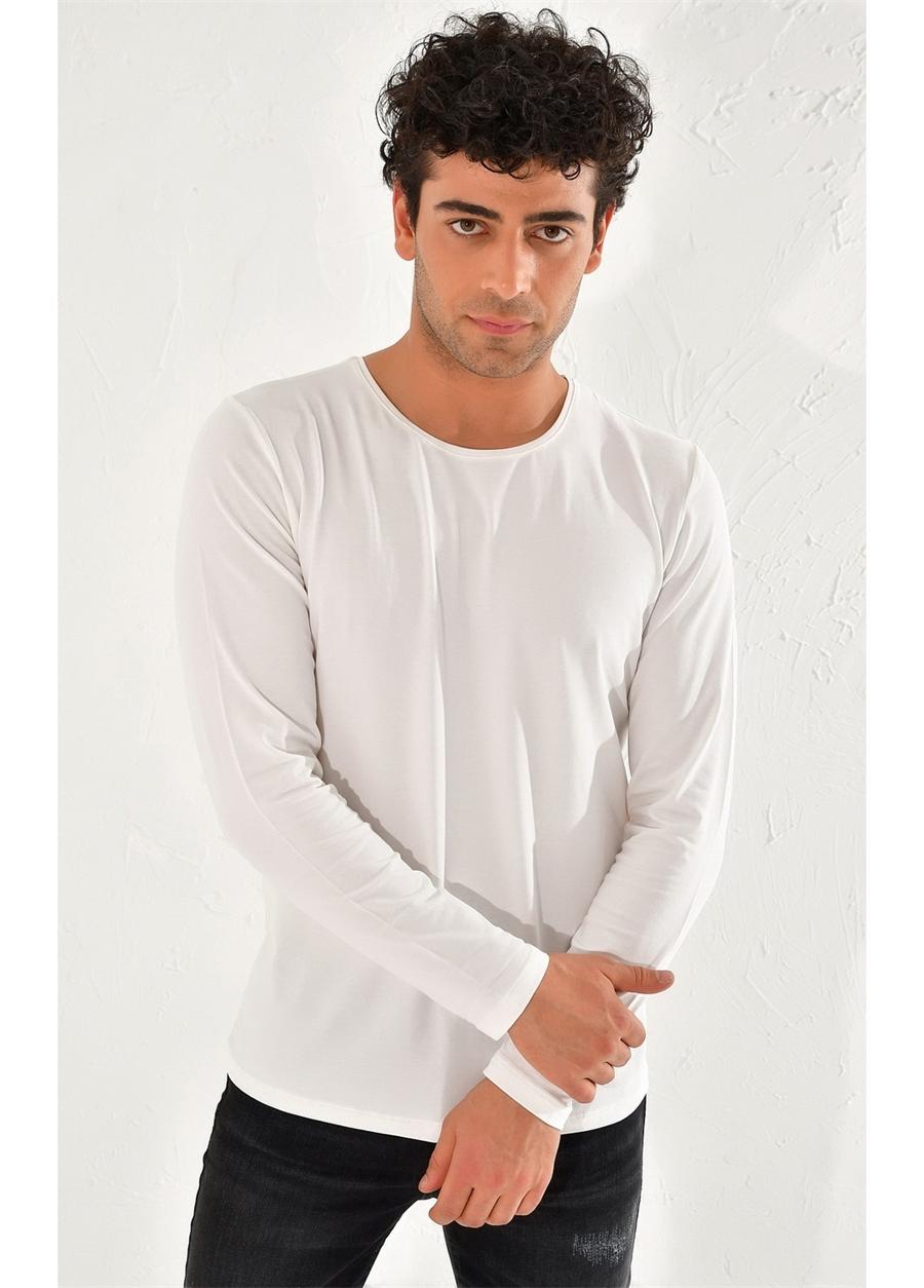 TS 754 Slim Fit Ekru Spor T-Shirt