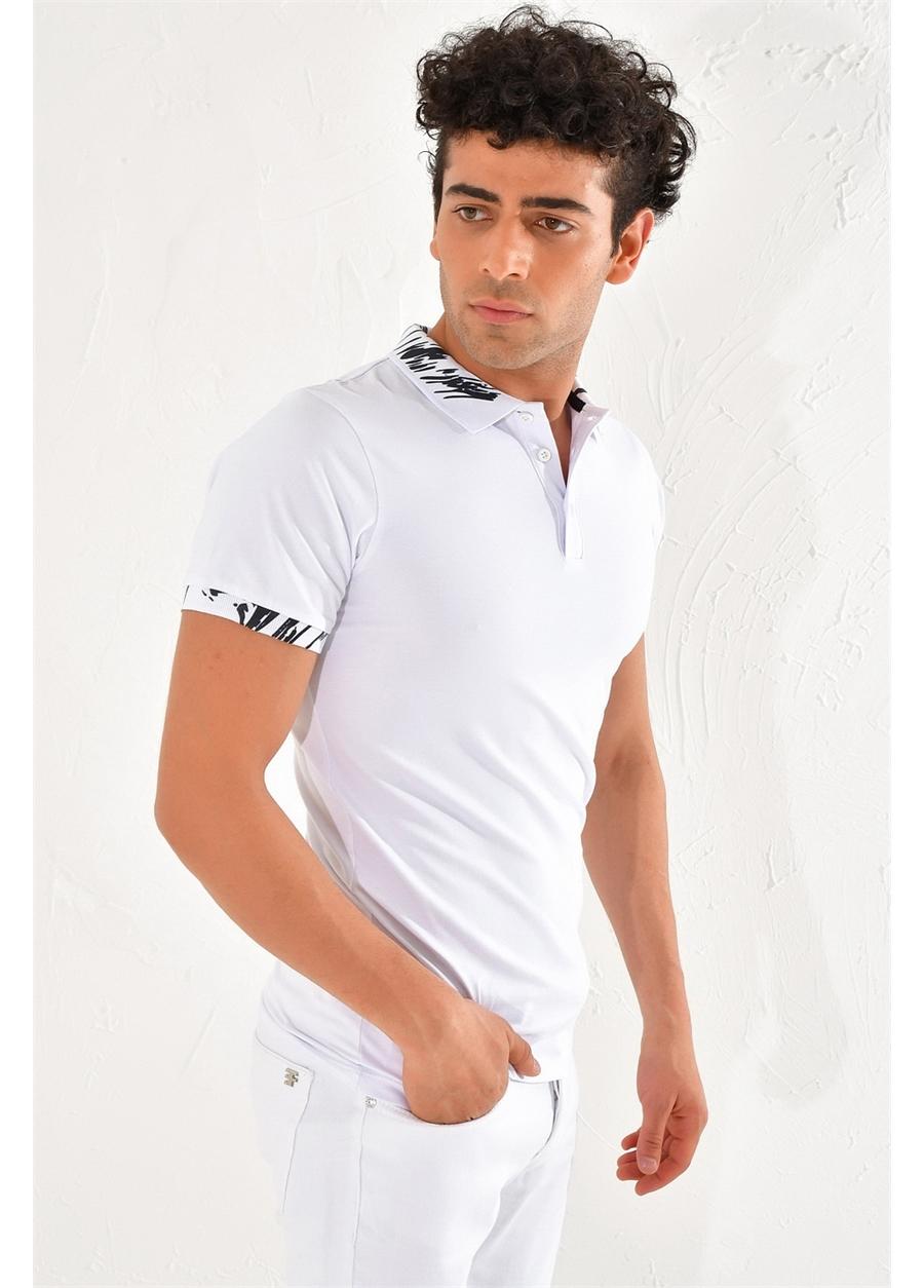 TS 755 Slim Fit Beyaz Spor T-Shirt