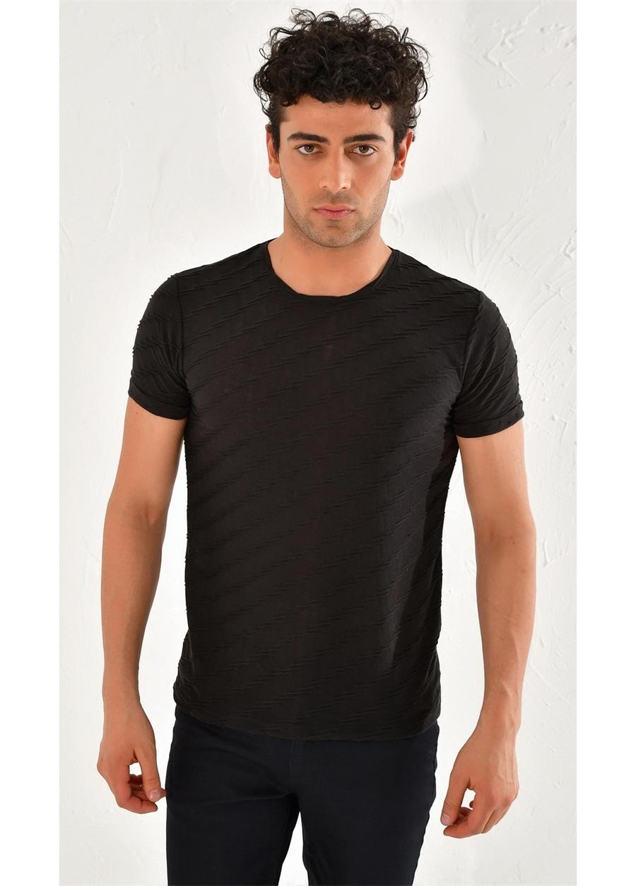 TS 761 Slim Fit Siyah Spor T-Shirt
