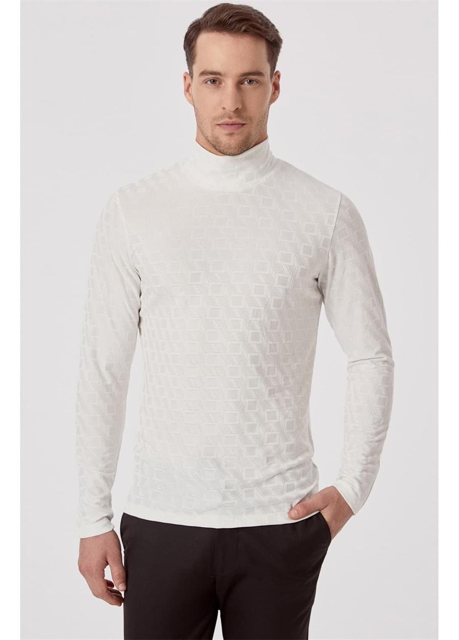 TS 774 Slim Fit Ekru Spor T-Shirt