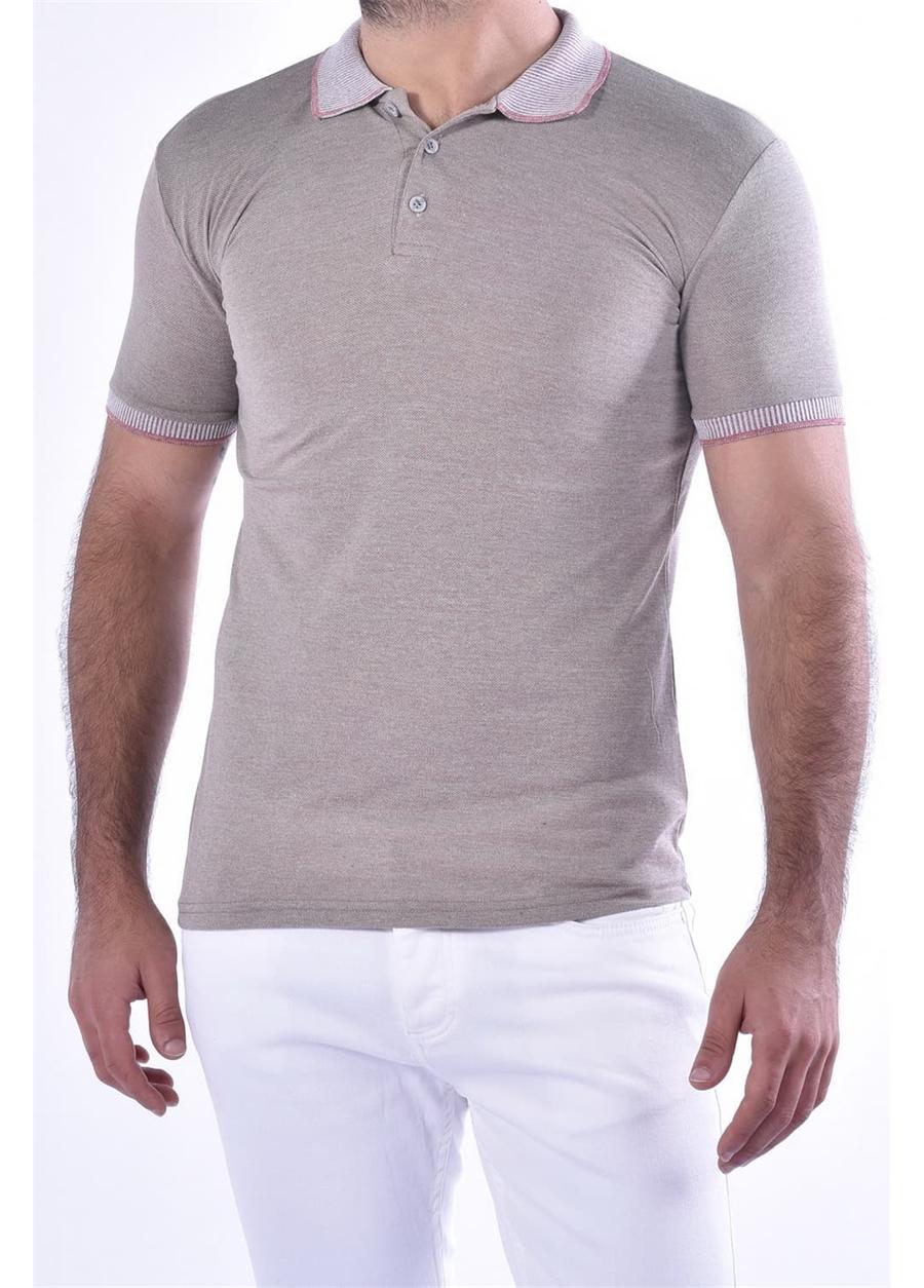 TS 814 Slim Fit Bej Spor T-Shirt